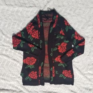 Material Girl Rose Pattern Woven Cardigan Sweater